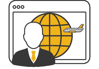 consulting man globe plane
